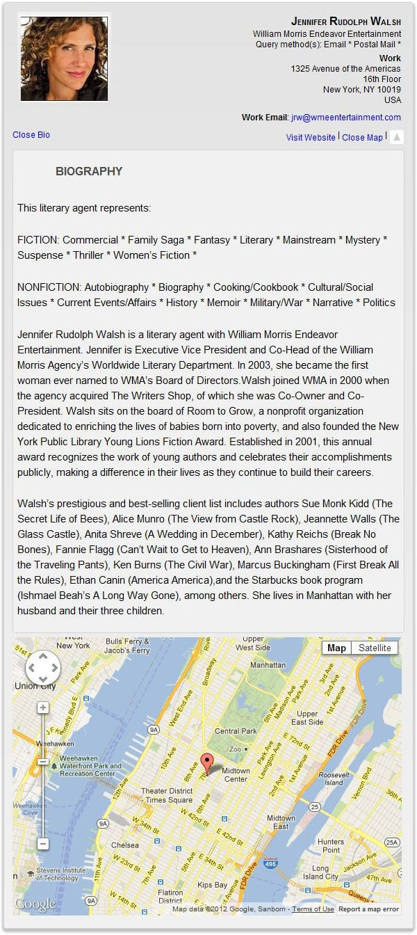 Literary agents New York directory